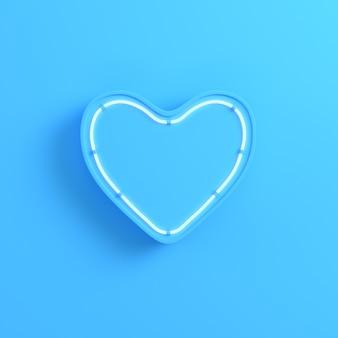 Serce z neonowym światłem na jasnym niebieskim tle