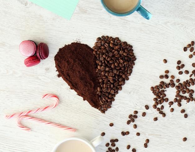 Serce ziaren kawy