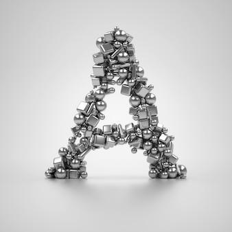 Seria 3d renderuje metalową literę a na czarnym tle opartą na cząsteczkach, które oparte na różnych prostych kształtach, takich jak sześcian i stożek cylindra kuli, wyglądają jak różne kształty tabletek medycznych