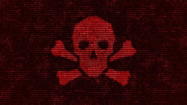 Serwer komputerowy został zaatakowany złośliwym oprogramowaniem przez hakera, binarny ekran ostrzegawczy symbolu czaszki śmierci w systemie bezpieczeństwa danych sieciowych, futurystyczny serwer cyfrowy zagrożenia cyberbezpieczeństwa ilustracja 3d
