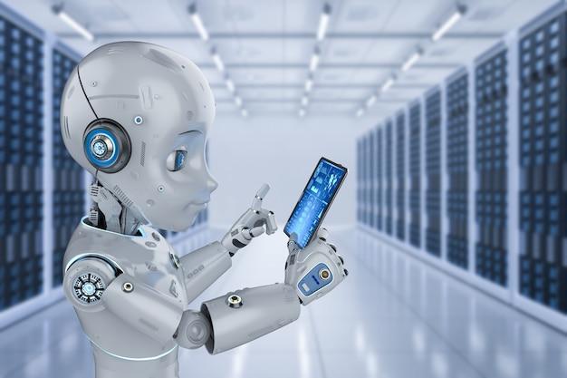 Serwerownia automatyzacji z renderowaniem 3d uroczy robot pracujący z cyfrowym tabletem w serwerowni