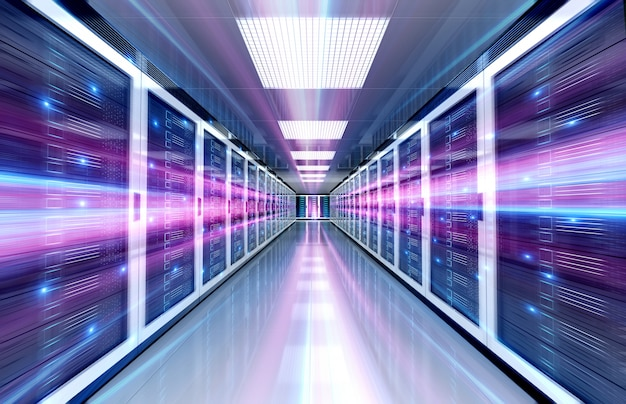 Serwery pomieszczenie centrum danych z jasnym światłem prędkości przez korytarz