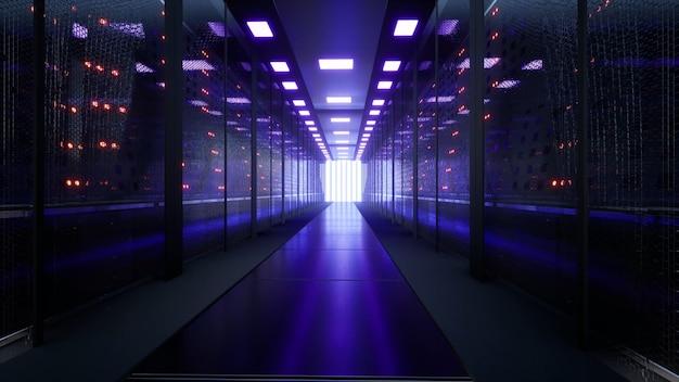 Serwery sieciowe i danych za szklanymi panelami w serwerowni centrum danych lub renderowania 3d isp