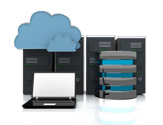 Serwery sieciowe w centrum danych z laptopem. koncepcja internetu 3d