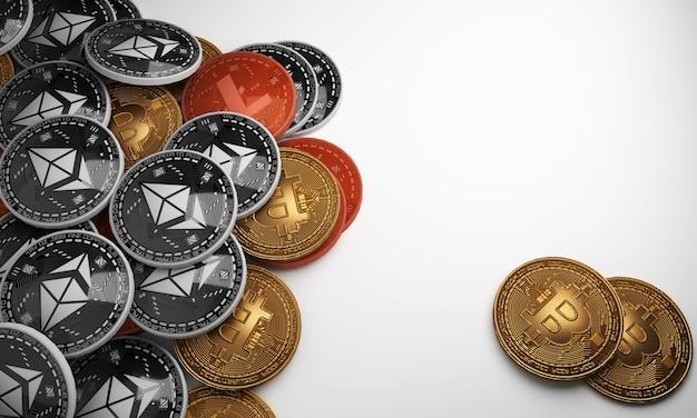 Set cryptocurrencies ze złotym bitcoin i srebrzystym bitcoin na białym tle