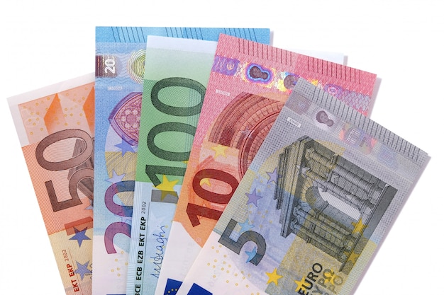 Set euro waluta rachunki odizolowywający