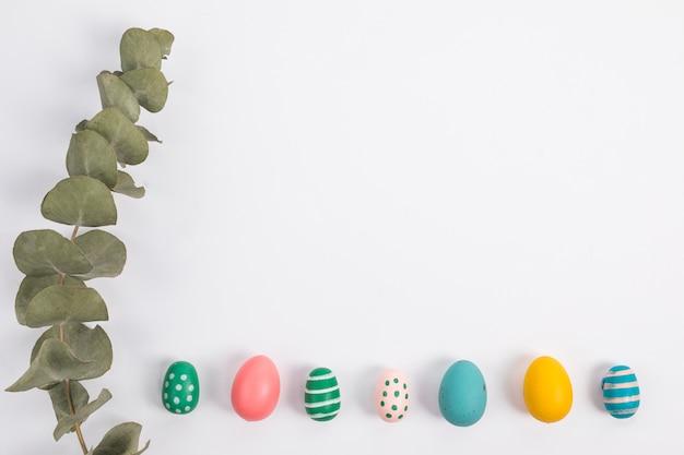 Set jaskrawi wielkanocni jajka blisko rośliny gałązki