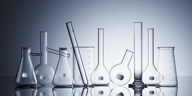 Set laborancki glassware na białym tle. 3d renderowania ilustracja.