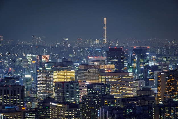 Seul panoramę w nocy, korea południowa.