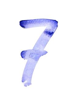 Seven - ręcznie malowane niebieskie cyfry akwarelowe