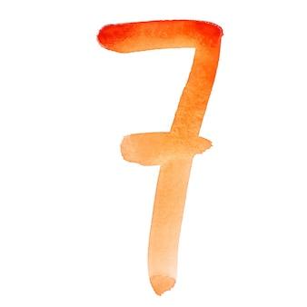Seven - ręcznie malowane pomarańczowe cyfry akwarelowe