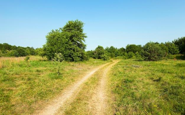 Sezon wiosenny białoruskiej wiejskiej polnej drodze. las,
