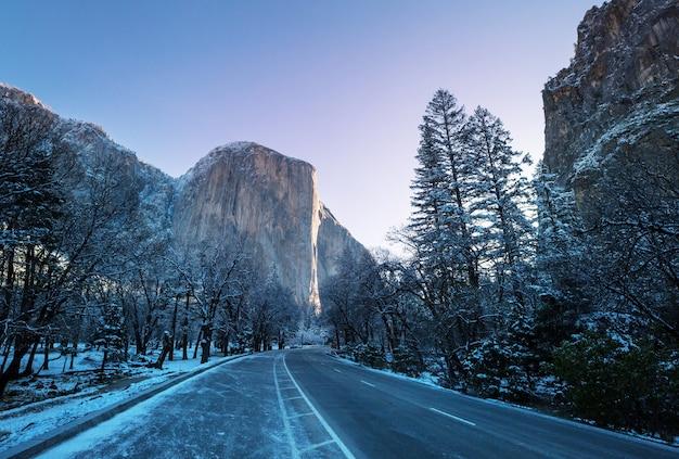 Sezon zimowy w parku narodowym yosemite w kalifornii, usa