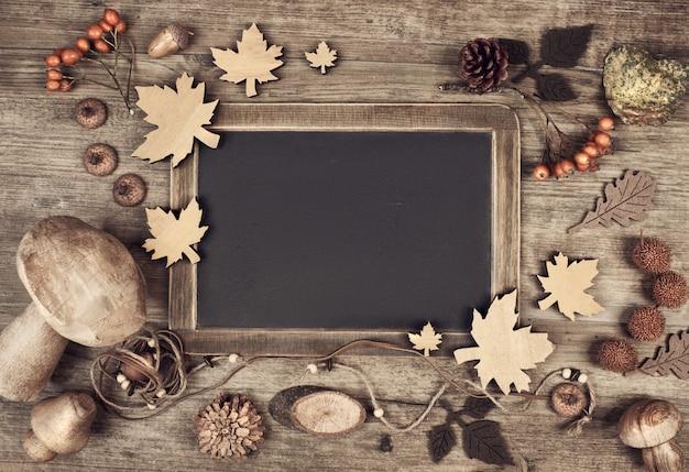 Sezonowe makieta tablicy na jesień, miejsca na tekst