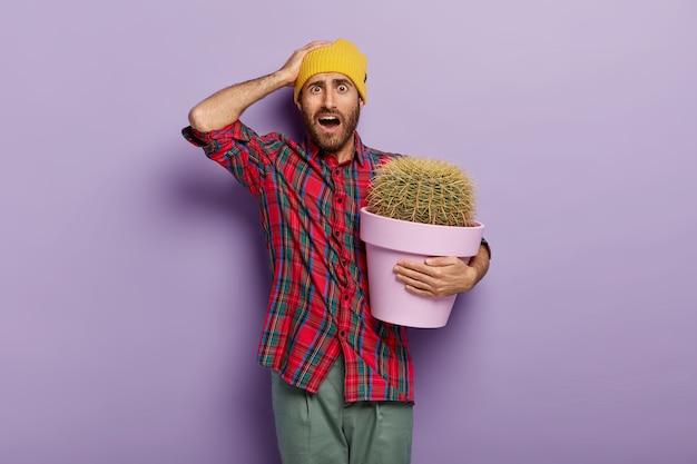 Sfrustrowany kaukaski mężczyzna trzyma rękę na głowie, trzyma doniczkę z dużym kaktusem, czuje się zakłopotany, nie ma pojęcia, jak dbać o rośliny domowe, nosi żółte nakrycie głowy, kraciastą koszulę, pozuje w domu. koncepcja botaniki