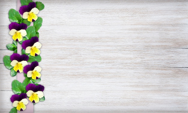 Shabby chic pansy background