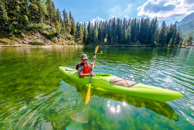 Shallow scenic lake kayak tour