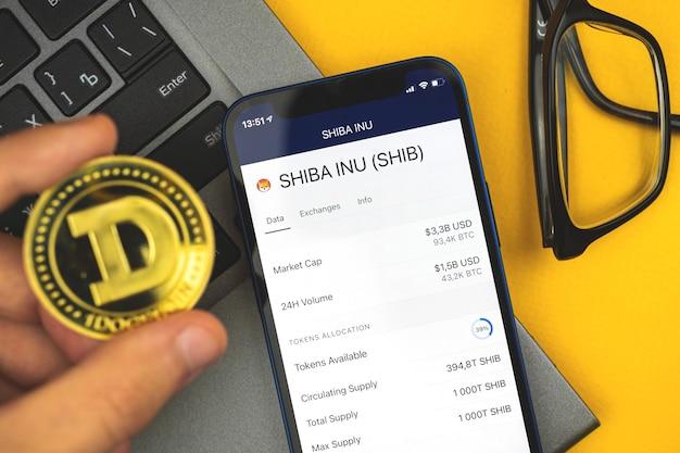 Shiba inu psie tło waluty kryptograficznej, telefon komórkowy do handlu i wymiany nowych wirtualnych pieniędzy, mężczyzna trzyma w ręku monetę doge