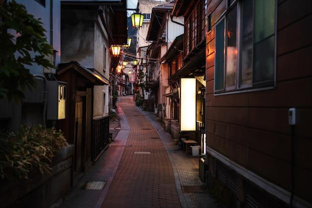 Shibu onsen miasto nocą, yamanouchi