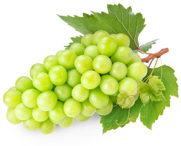 Shine muscat grape z liśćmi na białym tle na białej przestrzeni.