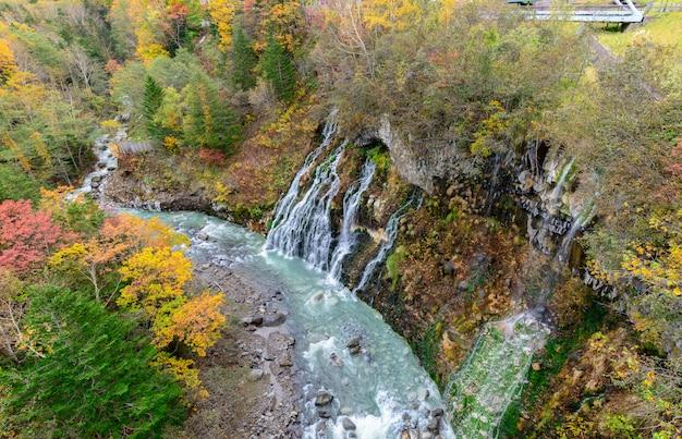 Shirahige wodospad w lesie jesienią