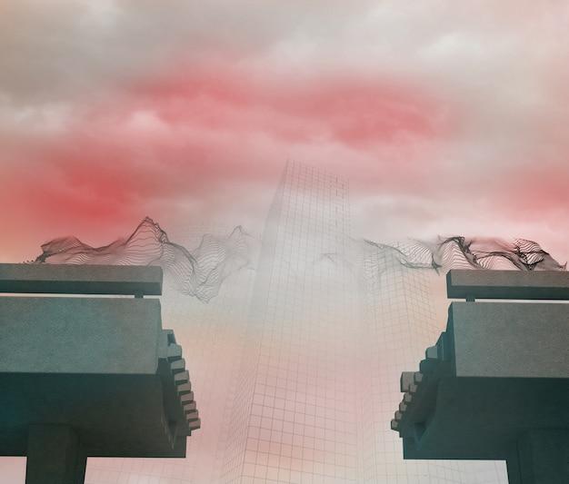 Siatka nad zepsuty most w mgle