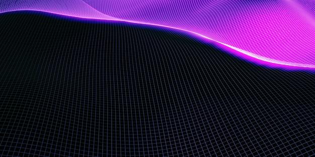 Siatka struktury falowej krzywej tła fioletowy i niebieski gradient makro obraz 3d ilustracja