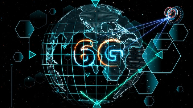 Sieć 6g super prędkość internet cyfrowa mapa świata na monitorze cyfrowy miernik cykliczny radar miernik elektroniczny 3d wewnątrz wysłane dane przez satelitę kwantową wysyłają sygnał star brust