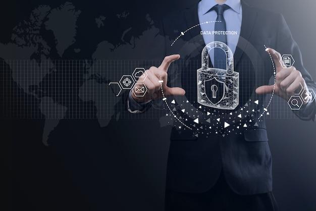 Sieć bezpieczeństwa cybernetycznego. ikona kłódki ochrony danych pojęcie prywatności ochrony danych. rodo. ue
