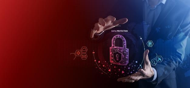 Sieć bezpieczeństwa cybernetycznego. ikona kłódki. pojęcie prywatności ochrony danych. rodo. ue