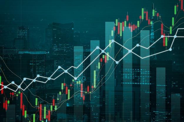 Sieć biznesowa podwójnej ekspozycji na wykresie handlowym i mieście