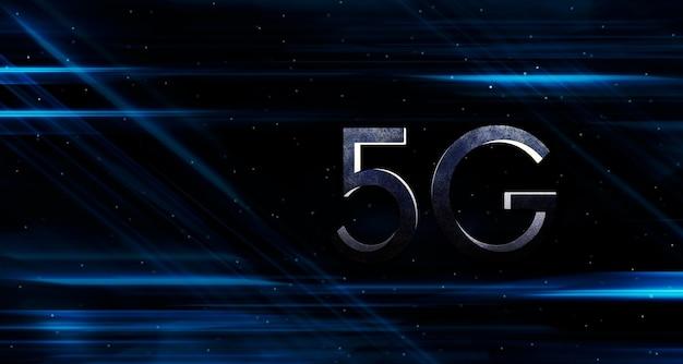 Sieć cyfrowa 5g internet szybko poruszająca się linia świetlna w tle sieć bezprzewodowa 5g