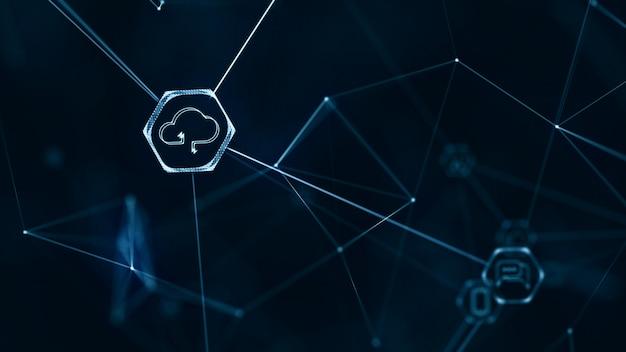 Sieć internetu przedmiotów (iot) z łączącymi się liniami.