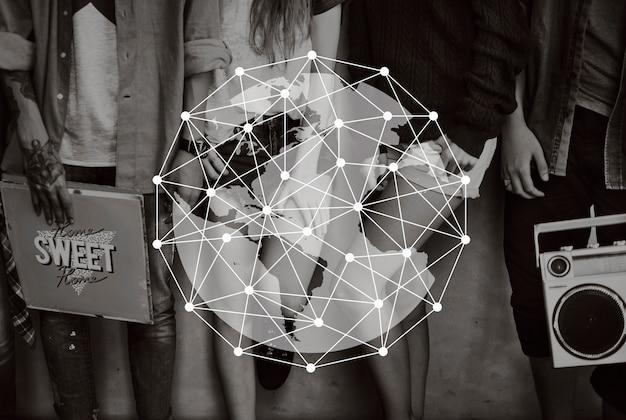 Sieć łączy globalny projekt graficzny