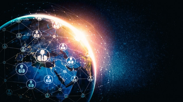 Sieć ludzi i globalne połączenie z ziemią w innowacyjnym postrzeganiu