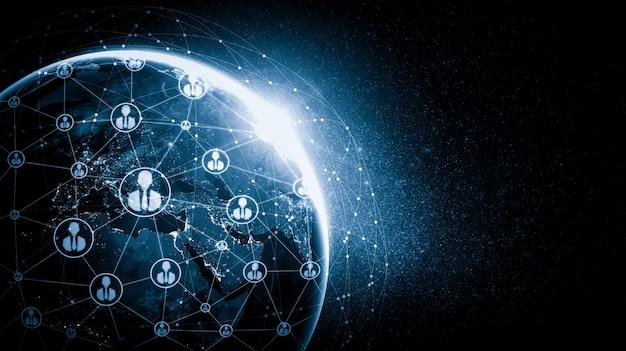 Sieć ludzi i globalne połączenie z ziemią w innowacyjnym ujęciu