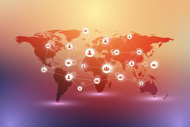 Sieć mediów społecznościowych i koncepcja marketingu na tle mapy świata. globalna koncepcja biznesowa i technologia internetowa, sieci analityczne, ilustracja.