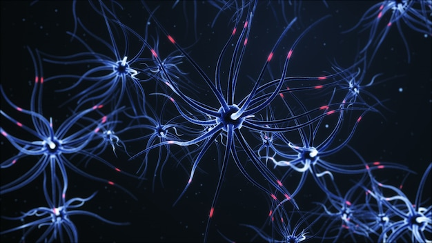 Sieć neuronowa na ciemnym niebieskim tle z efektami świetlnymi