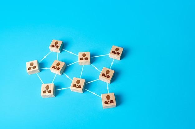 Sieć połączonych figurek pracowników samoorganizujący się hierarchiczny system biznesowy firmy