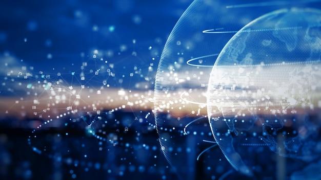 Sieć technologiczna połączenie danych cyfrowa sieć danych