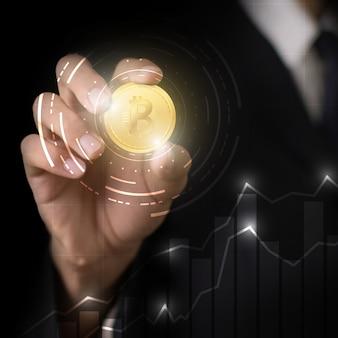 Sieć technologii wysłana do bitcoin biznesmen