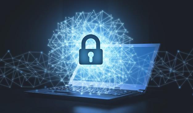 Sieć z kłódką na laptopie. bezpieczeństwo sieci