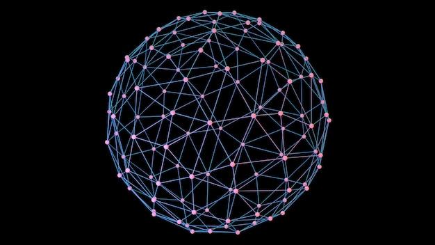 Sieć z połączonymi węzłami. koncepcja globalnej sieci