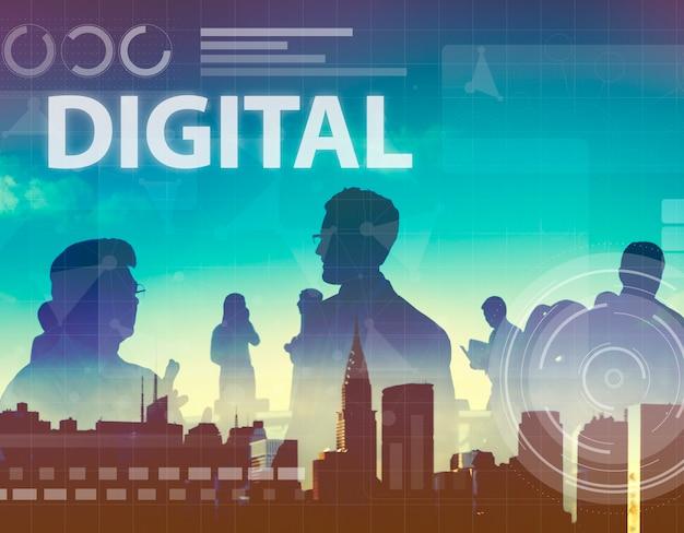 Sieci komputerowej cyfrowego pojęcia podłączeniowy technologia