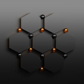 Siedem czarnych heaxagonów z czarnymi i złotymi błyszczącymi kulami. abstrakcjonistyczny szablon dla prezentaci.