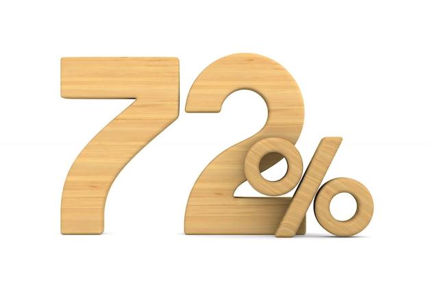 Siedemdziesiąt dwa procent na białym tle.