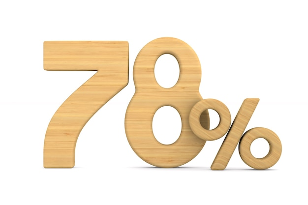 Siedemdziesiąt osiem procent na białym tle.