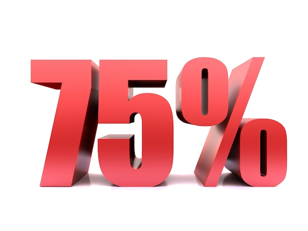 Siedemdziesiąt pięć procent 75% renderowania symbolu .3d