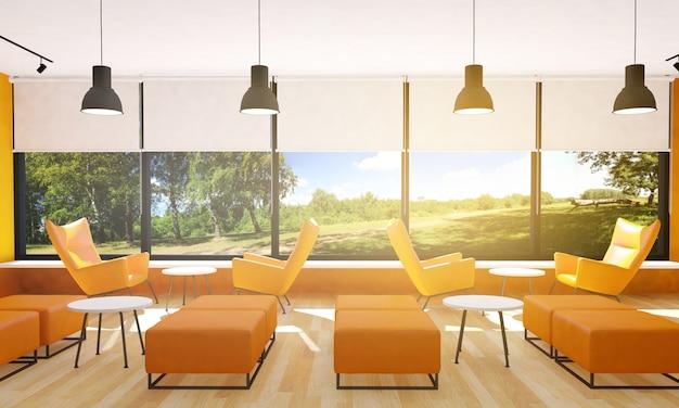 Siedzenia w nowoczesnym wnętrzu restauracji, renderowania 3d