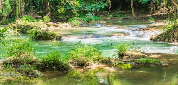 Siklawa w lesie na górze w tropikalnym lesie